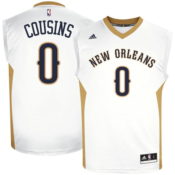 canotte New Orleans Pelicans Uomo adidas Home Replica DeMarcus Cousins 0 Bianco