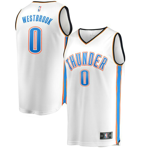canotte Oklahoma City Thunder Uomo Association Edition Russell Westbrook 0 Bianco