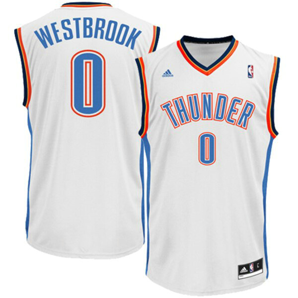 canotte Oklahoma City Thunder Bambino adidas Home Replica Russell Westbrook 0 Bianco