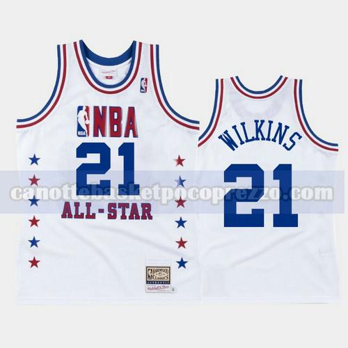 canotte Atlanta Hawks Uomo All Star 1988 Dominique Wilkins 21 Bianco