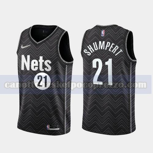 canotte Brooklyn Nets Uomo 2020-21 Earned Edition Iman Shumpert 21 Nero