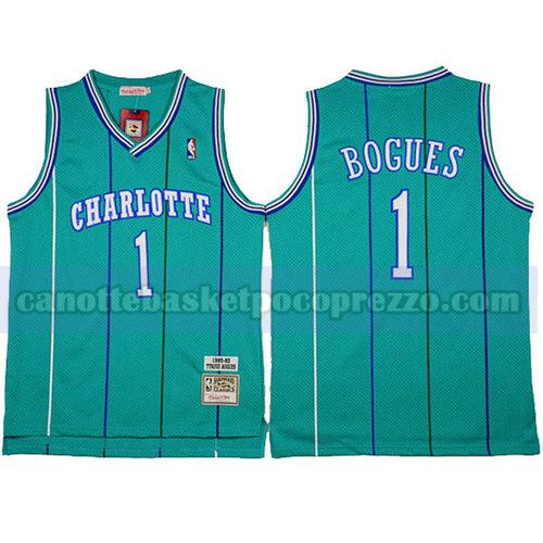 canotte Charlotte Hornets Uomo retro Tyrone Bogues 1 verde