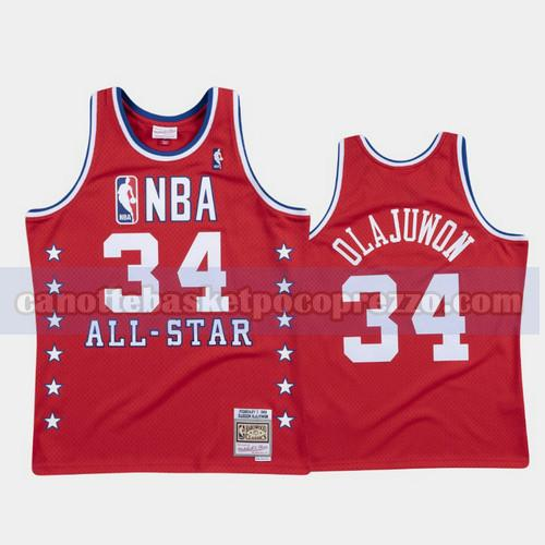 canotte Houston Rockets Uomo All Star 1988 Hakeem Olajuwon 34 Rosso