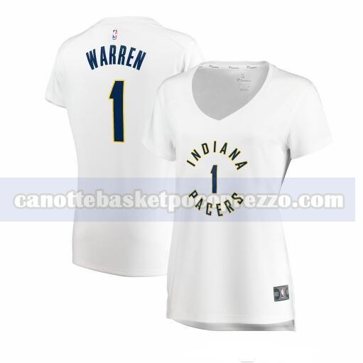 canotte Indiana Pacers Donna association edition TJ Warren 1 Bianco