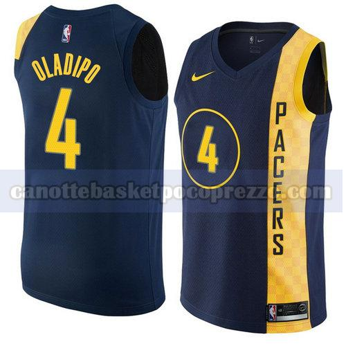 canotte Indiana Pacers Uomo Città 2018 Victor Oladipo 4 Blu