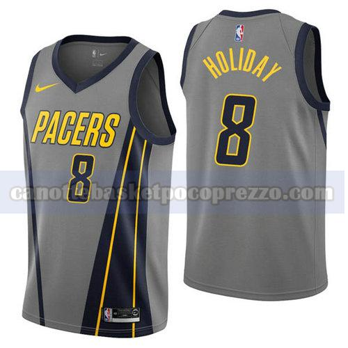 canotte Indiana Pacers Uomo Città 2019 Justin Holiday 8 Grigio