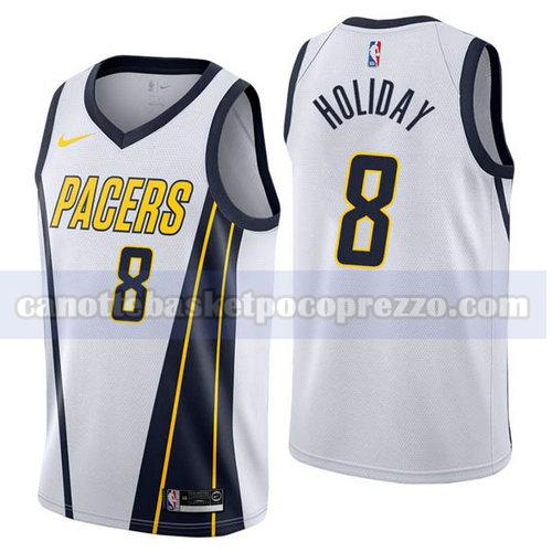 canotte Indiana Pacers Uomo Guadagnato 2019 Justin Holiday 8 Bianca
