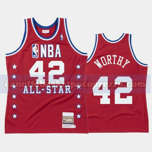 canotte Los Angeles Lakers Uomo All Star 1988 James Worthy 42 Rosso
