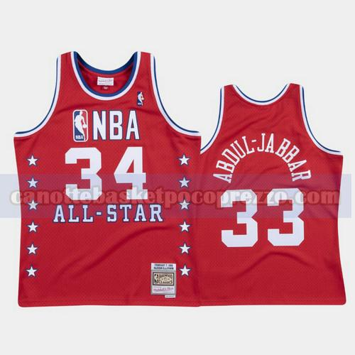 canotte Los Angeles Lakers Uomo All Star 1988 Kareem Abduljabbar 34 Rosso