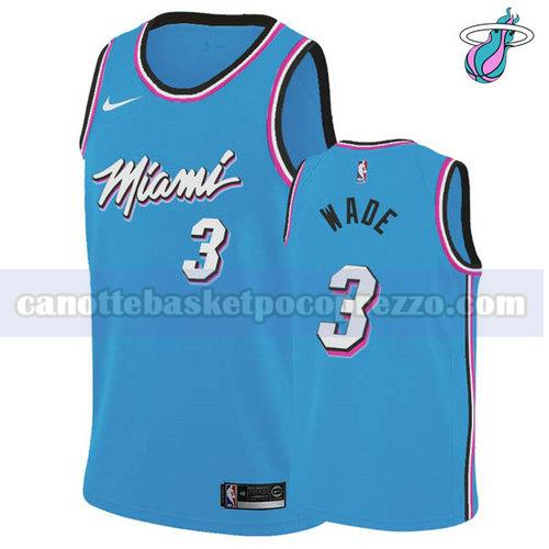 canotte Miami Heat Uomo vice night Dwyane Wade 3 Blu