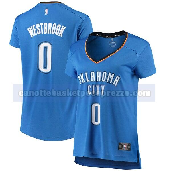 canotte Oklahoma City Thunder Donna iconico Russell Westbrook 0 Blu