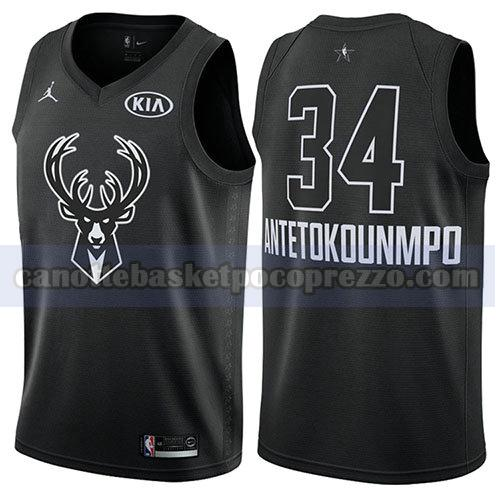 canotte all star 2018 uomo Giannis Antetokounmpo 34 nero