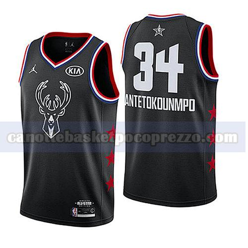canotte all star 2019 uomo Giannis Antetokounmpo 34 nero
