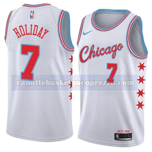 canotte chicago bulls uomo città 2018 Justin Holiday 7 bianco