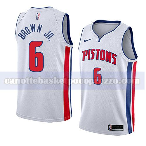 canotte detroit pistons uomo associazione 2018 Bruce Brown 6 bianco