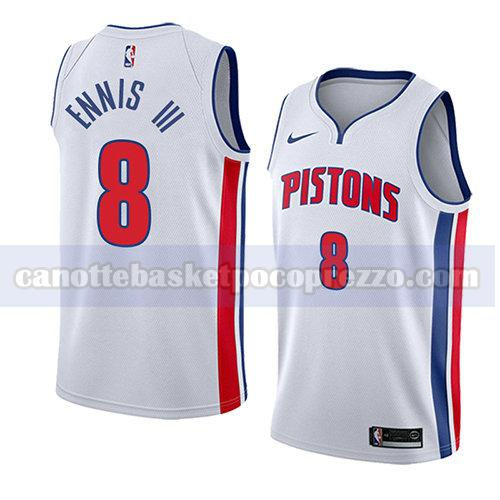 canotte detroit pistons uomo associazione 2018 James Ennis III 8 bianco