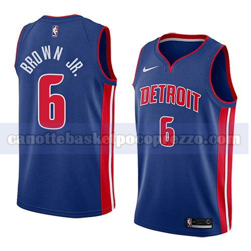 canotte detroit pistons uomo icona 2018 Bruce Brown 6 blu