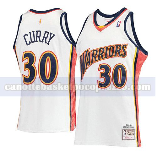 canotte golden state warriors uomo mitchell & ness Stephen Curry 30 bianco
