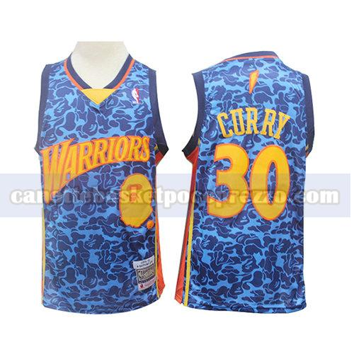 canotte golden state warriors uomo mitchell & ness Stephen Curry 30 blu