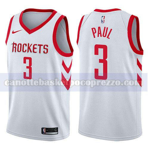 canotte houston rockets uomo 2017-18 Chris Paul 3 bianco