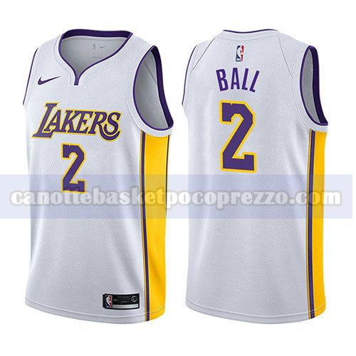 canotte los angeles lakers uomo 2017-18 Lonzo Ball 2 bianco