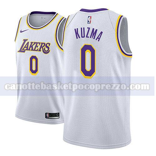 canotte los angeles lakers uomo associazione 2018 Kyle Kuzma 0 bianco