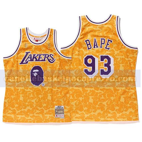 canotte los angeles lakers uomo mitchell & ness Bape 93 giallo