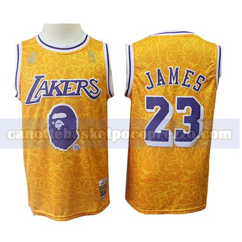 canotte los angeles lakers uomo mitchell & ness Lebron James 23 giallo