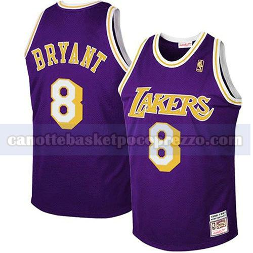 canotte los angeles lakers uomo retro Kobe Bryant 8 porpora