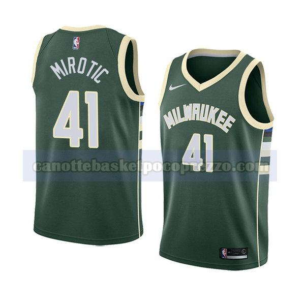 canotte milwaukee bucks uomo icona 2018 Nikola Mirotic 41 verde