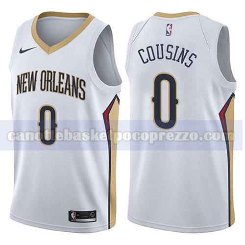 canotte new orleans pelicans uomo associazione 2017-18 Demarcus Cousins 0 bianco