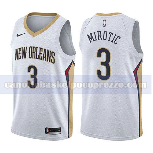 canotte new orleans pelicans uomo associazione 2017-18 Nikola Mirotic 3 bianco