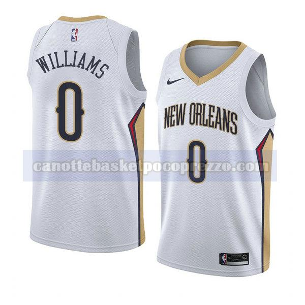 canotte new orleans pelicans uomo associazione 2018 Troy Williams 0 bianco