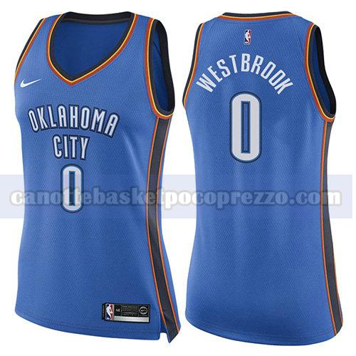 canotte oklahoma city thunder donna icona 2017-18 Russell Westbrook 0 blu