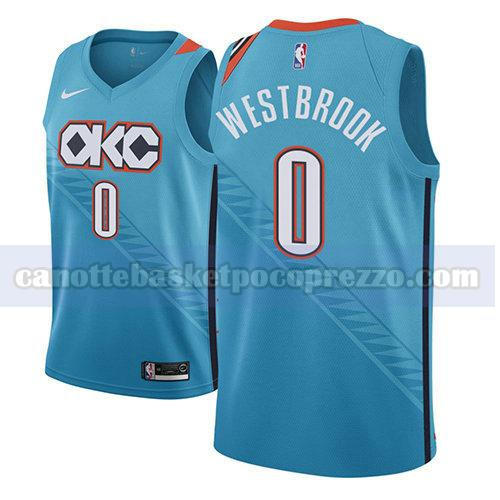 canotte oklahoma city thunder uomo città 2018-19 Russell Westbrook 0 blu