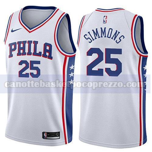 canotte philadelphia 76ers uomo associazione 2017-18 Ben Simmons 25 bianco