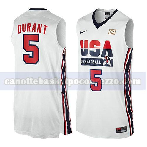 canotte usa 1992 uomo Kevin Durant 5 bianco