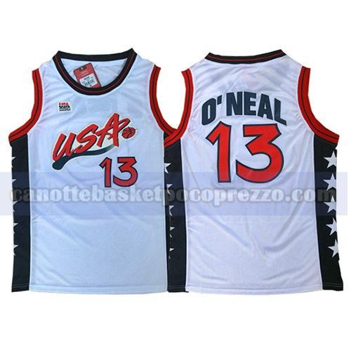 canotte usa 1996 uomo Shaquille O'Neal 13 bianco