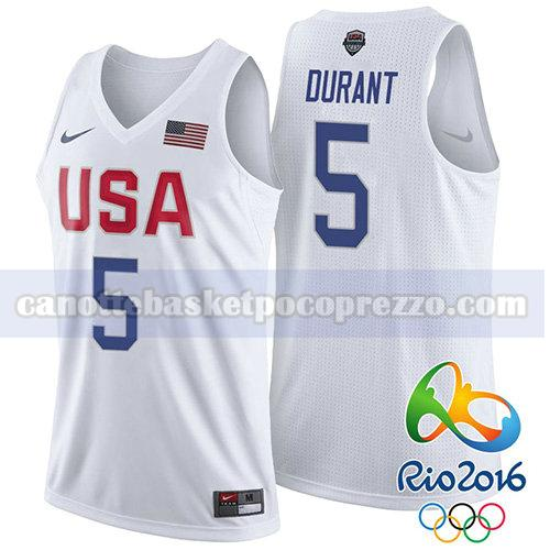 canotte usa 2016 uomo Kevin Durant 5 bianco