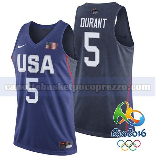 canotte usa 2016 uomo Kevin Durant 5 blu